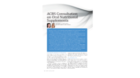 ACBS Consultation on Oral Nutritional Supplements